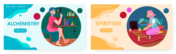 Woman boiling alchemy spiritual drink. Occult and divination vector concept illustration. Girl using divination board to predict future and fortune. Web site design template
