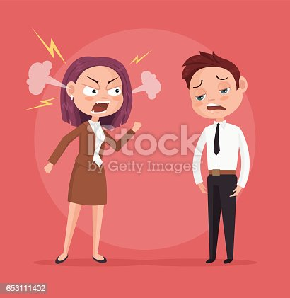istock Woman boss character yells at worker 653111402