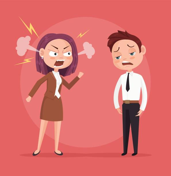 Woman boss character yells at worker vector art illustration