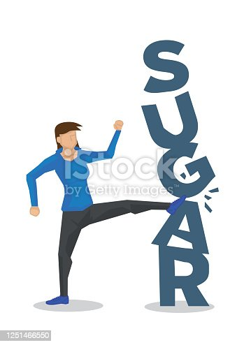 Woman breaking down sugar for healthy diet. Concept of healthy lifestyle, diet, stop eating carbohydrates or lifestyle changes. Vector illustration.