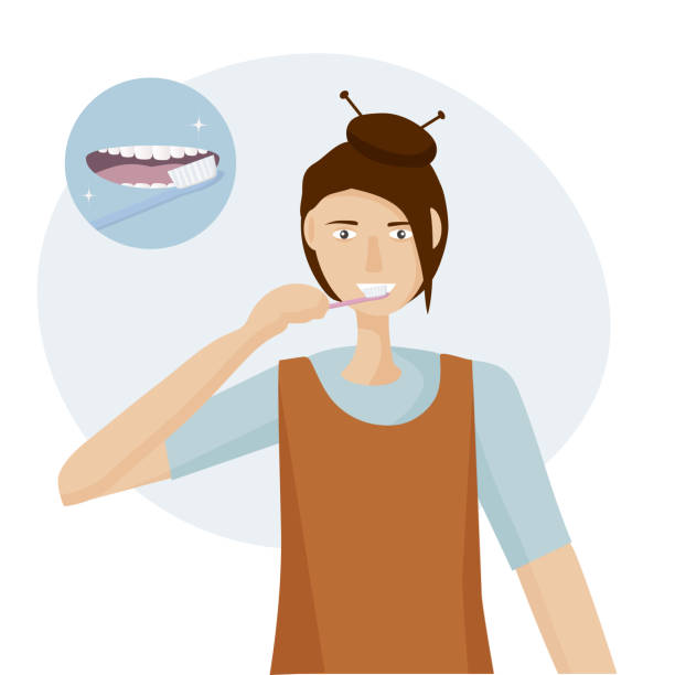 illustrazioni stock, clip art, cartoni animati e icone di tendenza di a woman brushing her teeth with a toothbrush.  open mouth with tongue and healthy clean teeth. oral hygiene concept every day. vector illustration flat design - smile woman open mouth