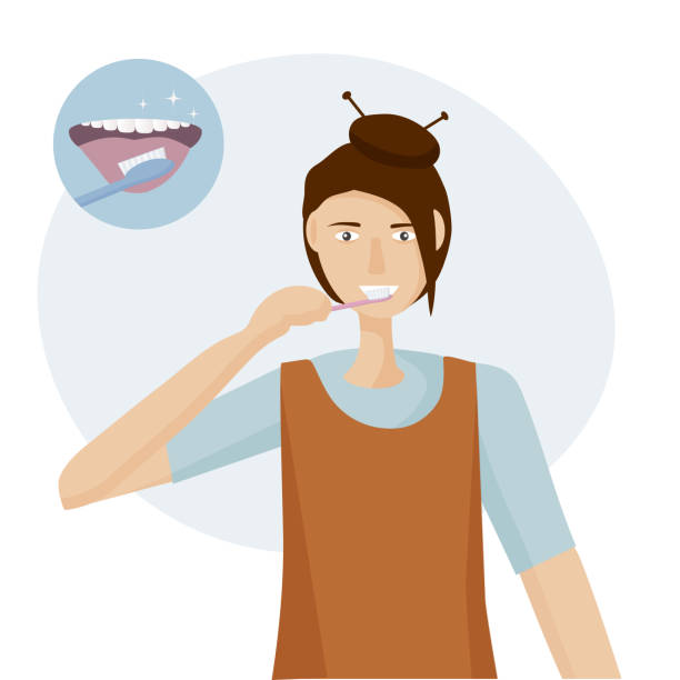 illustrazioni stock, clip art, cartoni animati e icone di tendenza di a woman brushing her tongue with a toothbrush.  open mouth with tongue and healthy clean teeth. oral hygiene concept every day. vector illustration flat design - smile woman open mouth
