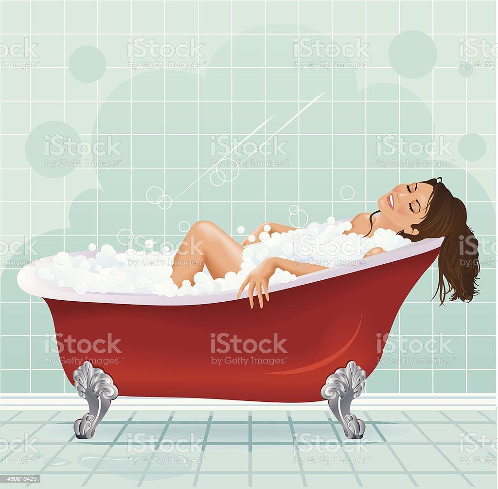 Woman Bubble Bath C vector art illustration
