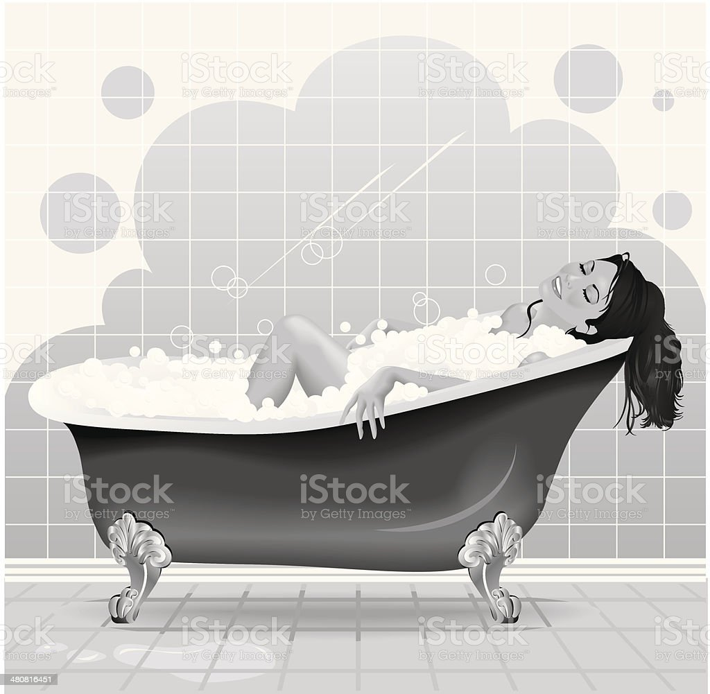Woman Bubble Bath vector art illustration