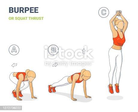 istock Woman Burpee or Squat Thrust Exercise Colorfull Concept Illustration 1272736222