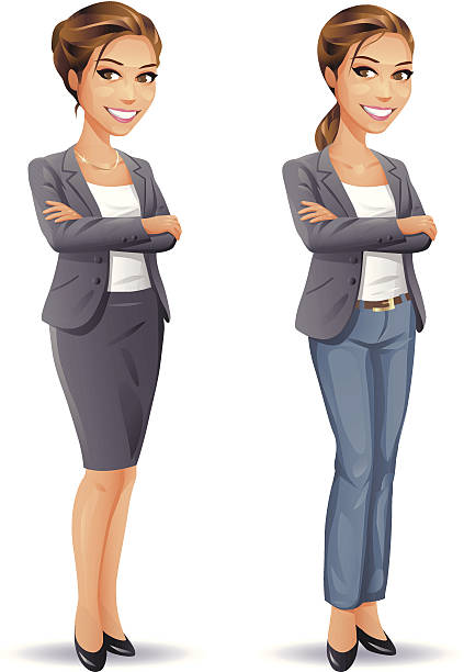 ilustraciones, imágenes clip art, dibujos animados e iconos de stock de mujer de negocios o informal - ejecutiva
