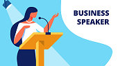 Woman Business Speaker on Podium Reads Report. Presentation to Audience. Business Training for Women. Vector Illustration. Standing in front Audience. Woman Business Clothes in Conference Hall.
