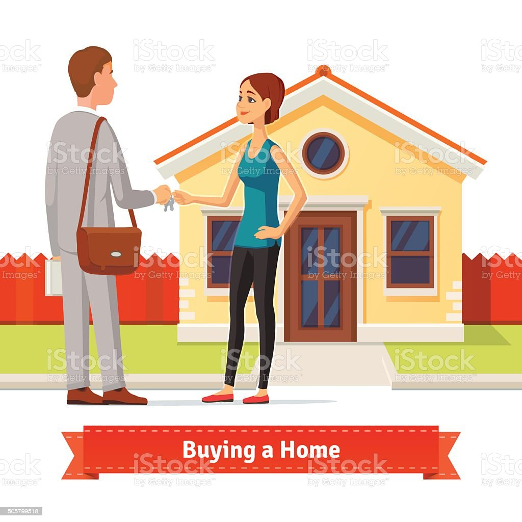 Woman buying a new house. Real estate agent vector art illustration