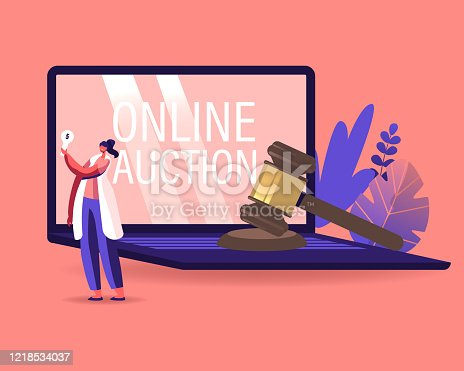 Woman Buying Assets in Internet Using Online Platform. Female Character Holding Bid Plate in Hand Stand at Huge Laptop with Online Auction Inscription on Screen, Business. Cartoon Vector Illustration