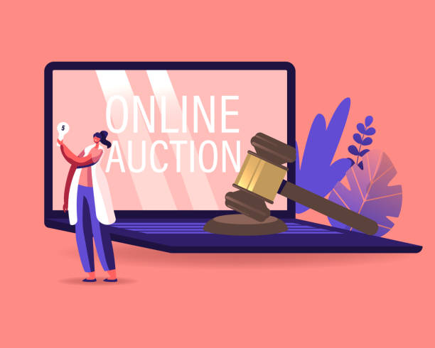 Woman Buying Assets in Internet Using Online Platform. Female Character Holding Bid Plate in Hand Stand at Huge Laptop with Online Auction Inscription on Screen, Business. Cartoon Vector Illustration Woman Buying Assets in Internet Using Online Platform. Female Character Holding Bid Plate in Hand Stand at Huge Laptop with Online Auction Inscription on Screen, Business. Cartoon Vector Illustration auction stock illustrations