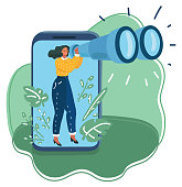 Vector cartoon illustration of woman carefully looks through binoculars into the distance. Data collection, research concept. Character look out the smartphone display.