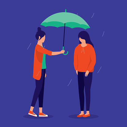 Woman Caring For Her Friend Who Is Feeling Under The Weather. Friendships And Support Concept. Vector Illustration.