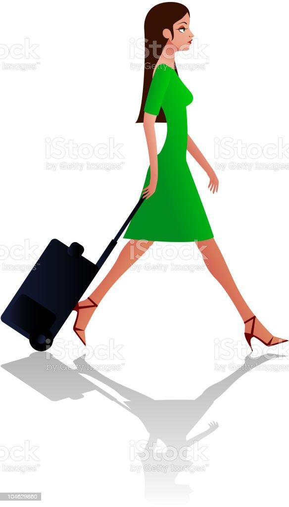 Woman carring travel bag royalty-free stock vector art