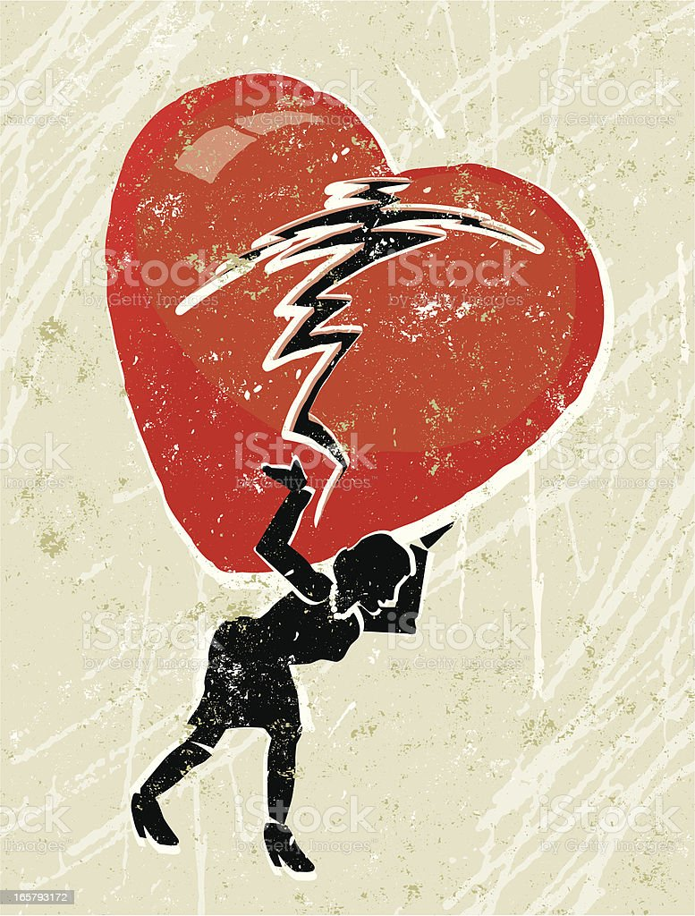 Woman  Carrying a Broken Heart on Her Shoulders vector art illustration