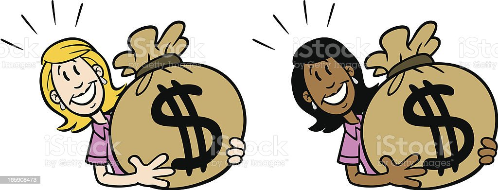 Woman Carrying Bag of Money royalty-free stock vector art