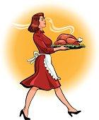 Woman Carrying Big Fat Roasted Turkey
