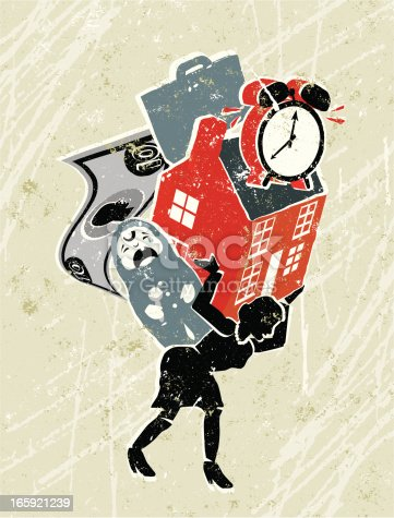 Work-life balance! A stylized vector cartoon of a businesswoman carrying her responsibilities,reminiscent of an old screen print poster and suggesting moving house,work-life balance, women's issues, multi-tasking, home finance, under pressure, time management, time pressure or strength. House, woman, baby, clock, not, briefcase,paper texture and background are on different layers for easy editing. Please note: clipping paths have been used, an eps version is included without the path.