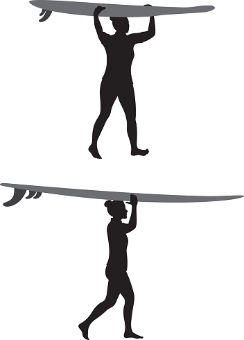 Woman Carrying Surfboard on Head Silhouettes
