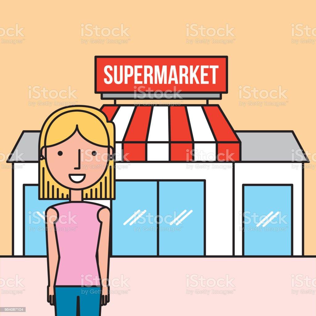 Frau Cartoon stehenden vorderen Supermarkt – Vektorgrafik