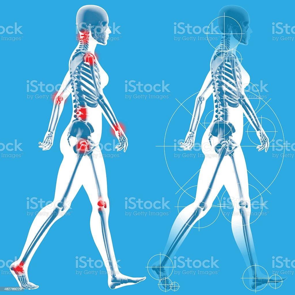 Woman casually walking - Side profile vector art illustration