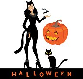 Woman cat and Halloween