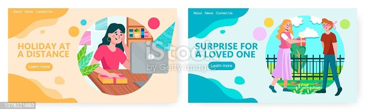 istock Woman celebrates her birthday online. Woman giving present to a man with closed eyes in a park. Birthday gift concept illustration. Vector web site design template 1278221663