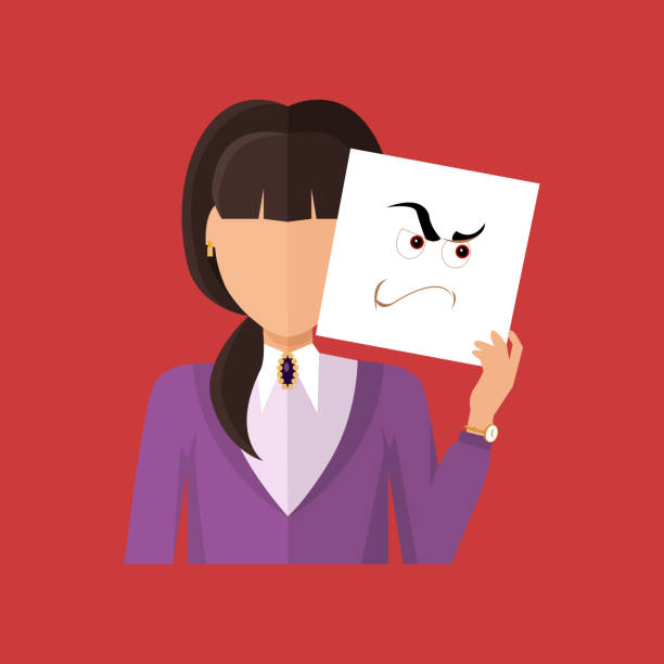 Woman Character Avatar Vector in Flat Design Woman character avatar vector. Flat style. Female portrait with anger, wrath, insult, skepticism, contempt, aggression, envy, emotional mask. Illustration for identity in Internet mood concepts icon arbitrary stock illustrations