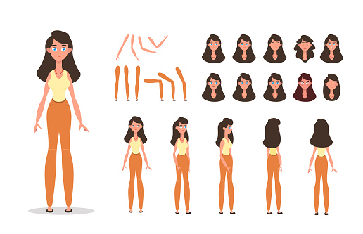 Woman character constructor for animation with various views, poses, gestures, hairstyles and emotions. Cartoon style