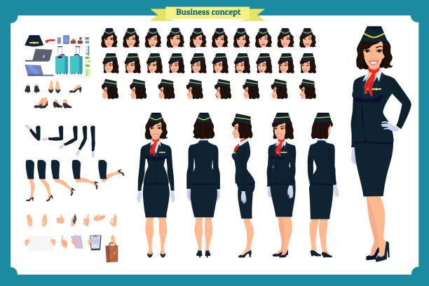 illustrazioni stock, clip art, cartoni animati e icone di tendenza di woman character creation set. the stewardess, flight attendant. icons with different types of faces and hair style, emotions, front, rear side. - organizzatore della festa