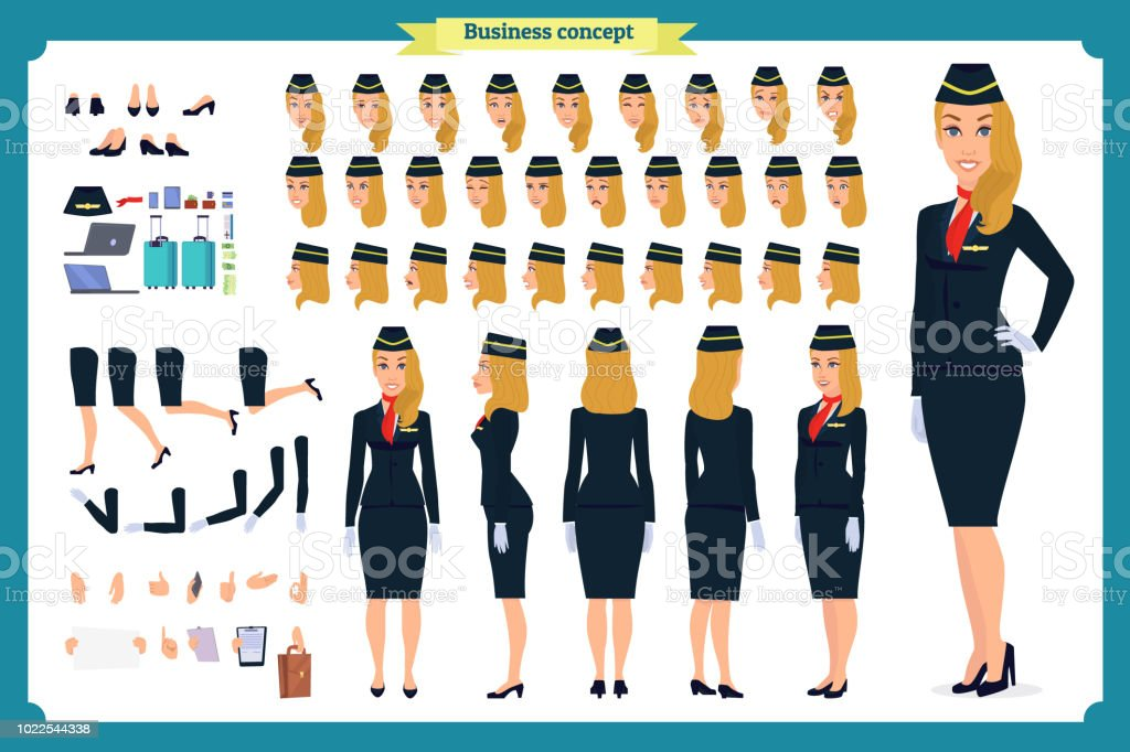 Fraucharaktererstellung Festgelegt Die Stewardess Flugbegleiterin