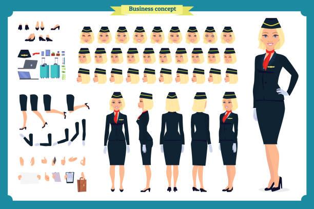 stockillustraties, clipart, cartoons en iconen met vrouw creatie tekenset. de stewardess, stewardess. pictogrammen met verschillende soorten gezichten en kapsel, emoties, voorkant, achterkant. - stewardess