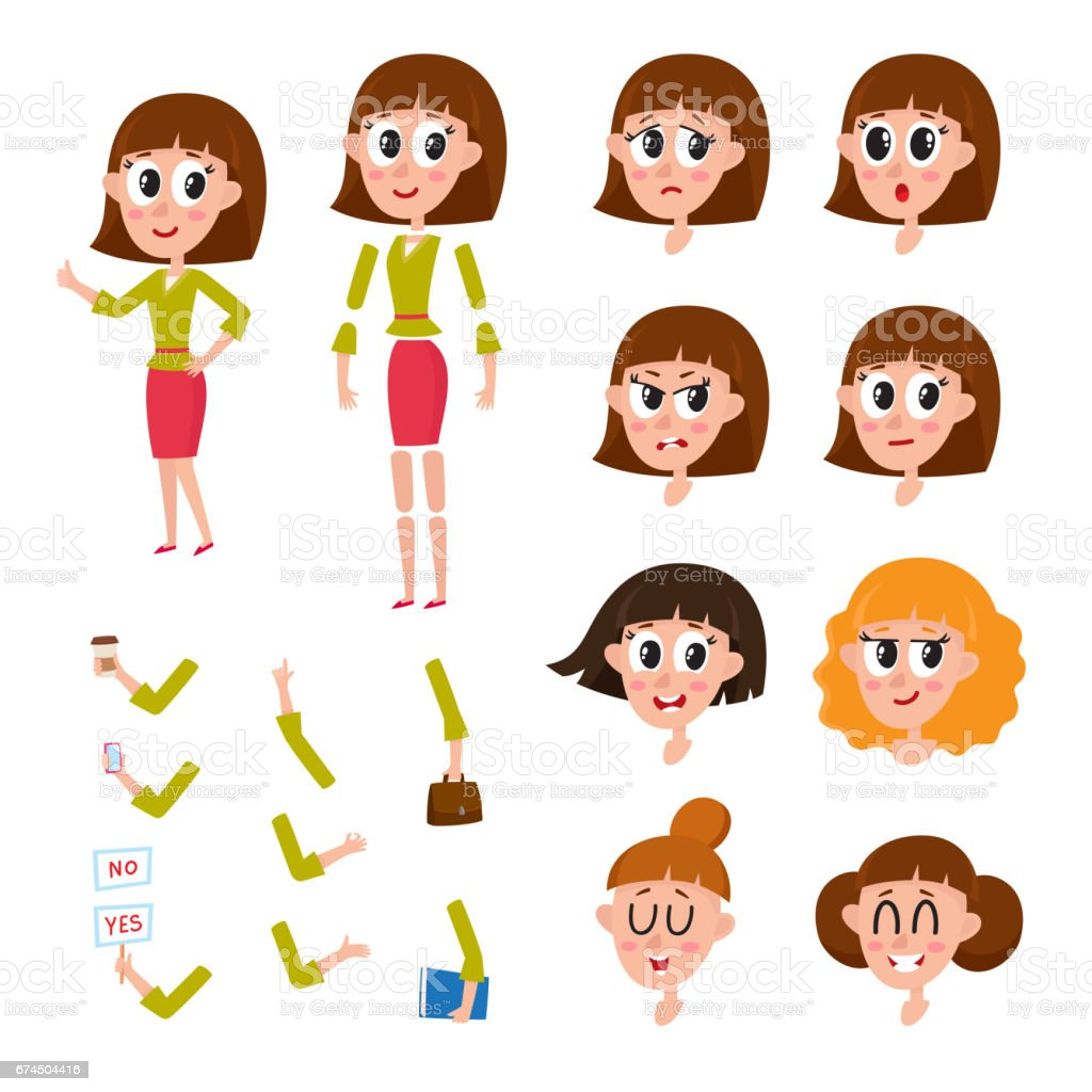 Woman character creation set with different faces, hairstyle, hands, emotions vector art illustration