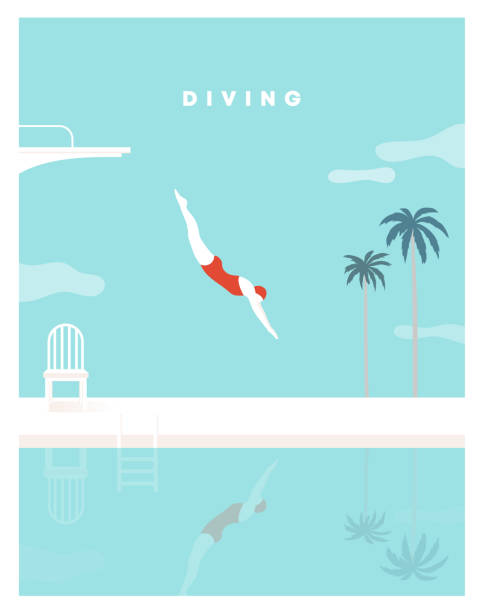 ilustrações de stock, clip art, desenhos animados e ícones de woman character dives. jumping into water. a jump of a sporty woman into swimming pool. female wearing swimming suit. diving board, palm tree, chair. modern style. vector flat illustration. - jump pool, swimmer