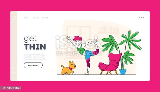 istock Woman Character Doing Stretching or Yoga Exercises at Home Landing Page Template. Fitness, Sport and Healthy Lifestyle 1273822360