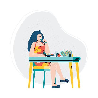 Woman character eating organic fresh food, flat vector illustration isolated.