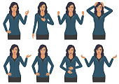 woman character expressions with hands gesture, cartoon businesswoman wit different emotion