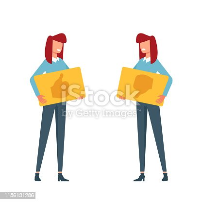 Woman character holding sign like dislike thumb up and down. Vote rating concept. Vector flat cartoon graphic design isolated