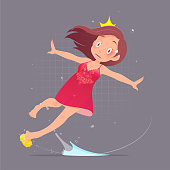 Woman character in red nightdress slipped and fell because the soap in the bathroom. Vector flat cartoon illustration