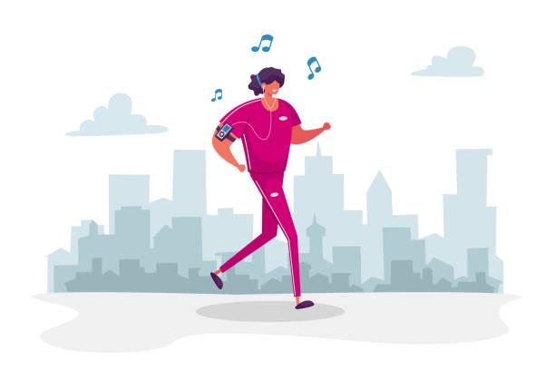 Woman Character in Sports Wear and Headset Running in Park Listen Music Player. Summertime Outdoor Sport Activity, Jogging and Sports Healthy Lifestyle, Morning Exercising. Cartoon Vector Illustration Woman Character in Sports Wear and Headset Running in Park Listen Music Player. Summertime Outdoor Sport Activity, Jogging and Sports Healthy Lifestyle, Morning Exercising. Cartoon Vector Illustration active lifestyle stock illustrations