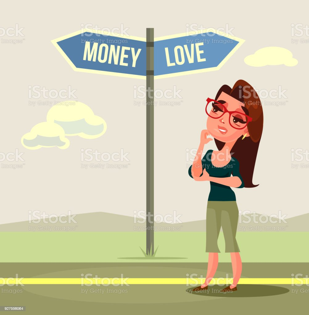 714ffce37092 Woman Character Making Choice Love Or Money Stock Vector Art   More ...