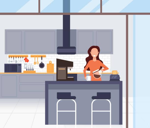 bildbanksillustrationer, clip art samt tecknat material och ikoner med kvinna karaktär gör kaffe morgon. vektor design platt grafisk tecknad illustration - arbeta köksbord man