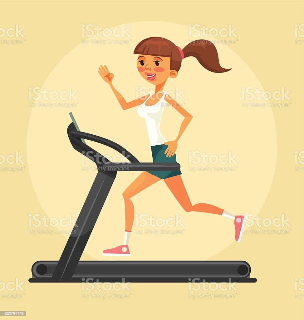 Woman character running on treadmill. Vector flat cartoon illustration vector art illustration