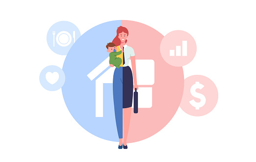 Woman Character Separated on Two Halves as Housewife with Child and Businesswoman Choosing Between Family or Parenting