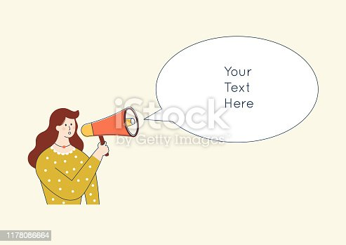 910149000istockphoto Woman character shouting in loudspeaker. Cute cartoon advertising promotion concept. Announcement in megaphone. Flat vector illustration. 1178086664
