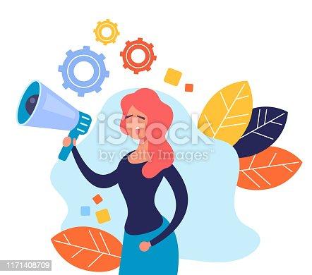 910149000istockphoto Woman character speaking megaphone. Announcement message advertising banner concept. Vector flat cartoon graphic design illustration 1171408709