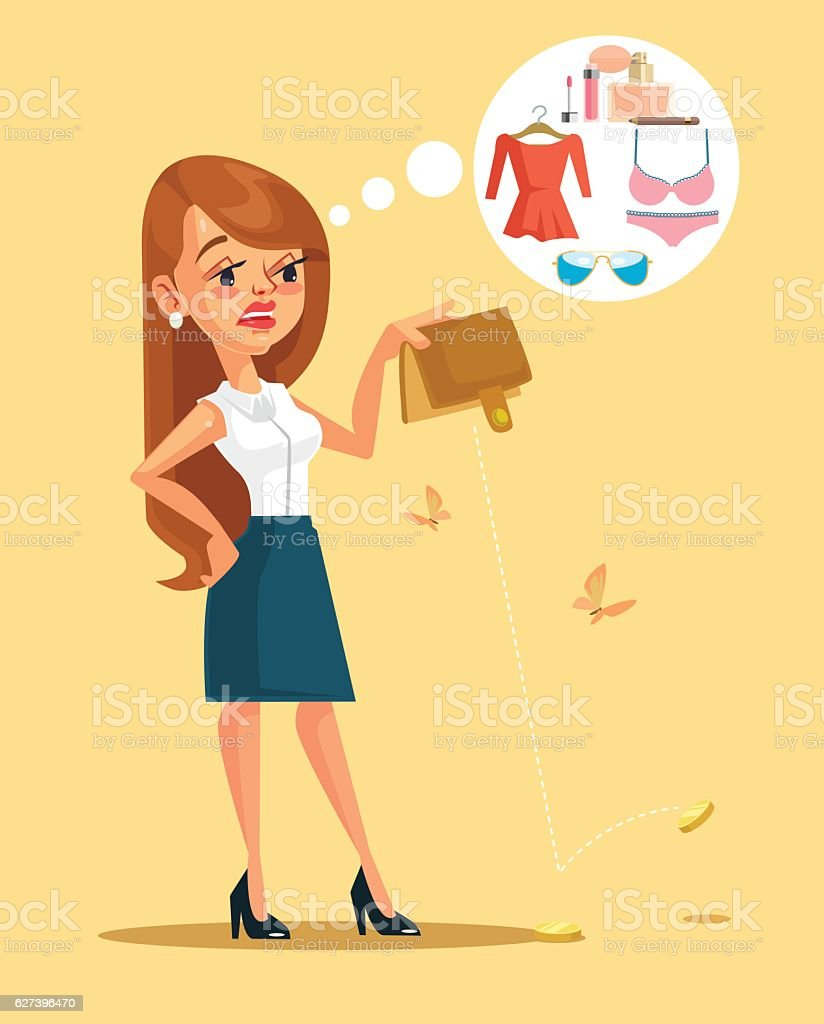 Woman character spent all her money. Vector flat cartoon illustration