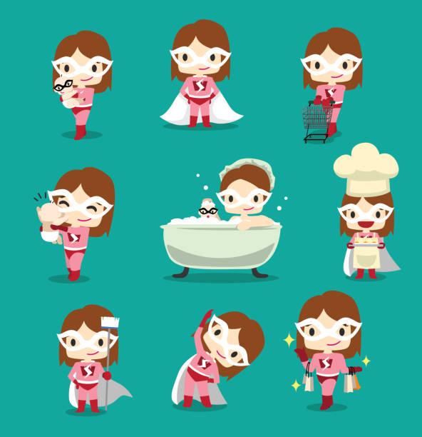 ilustrações de stock, clip art, desenhos animados e ícones de woman character superhero cartoon with baby housemaid vector - super baby