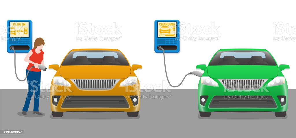 woman charging power to vehicle from wallbox charging station. vector art illustration