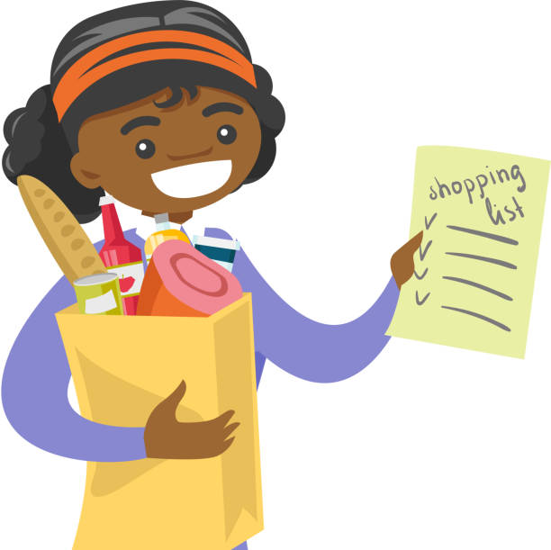 Woman checking shopping list in the grocery store Young african-american woman checking shopping list in the grocery store. Smiling woman holding shopping list and paper bag with products. Vector cartoon illustration isolated on white background. shopping list stock illustrations