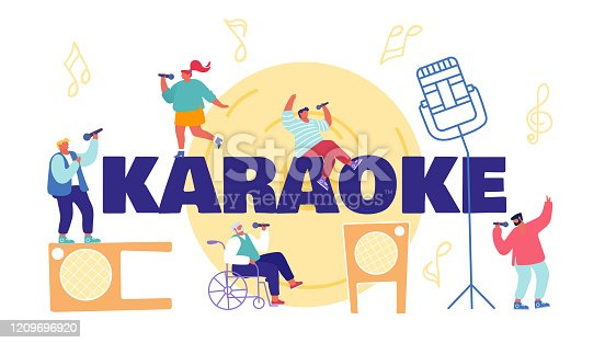 istock Woman Cheer and Dancing on Stage Performing Composition in Karaoke Bar. Super Star Singing Song. Artist Singing at Music Event or Concert, Corporate Party Cartoon Flat Vector Illustration, Round Icon 1209696920